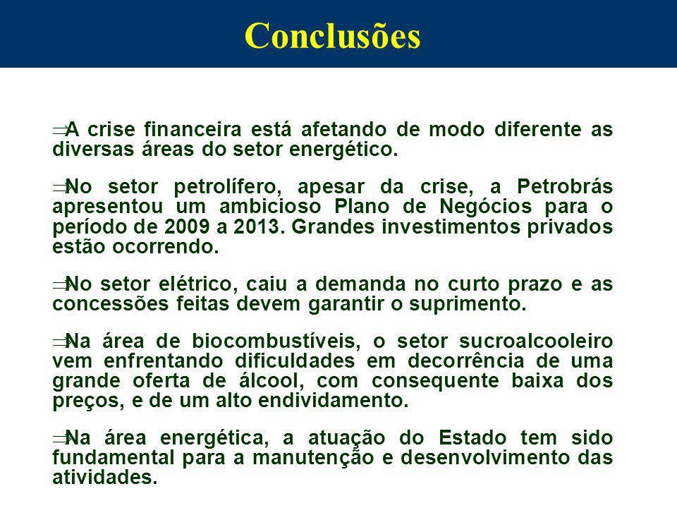 Conclusões A crise financeira está afetando de modo diferente as diversas áreas do setor energético. No setor petrolífero, apesar da crise, a Petrobrá