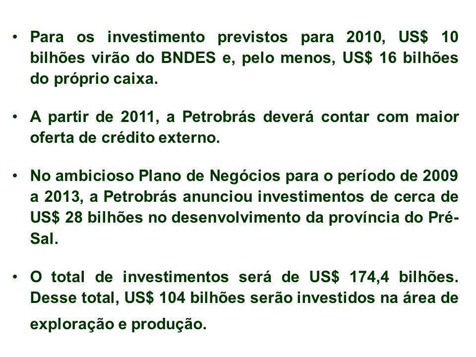 Para os investimento previstos para 2010, US$ 10 bilhões virão do BNDES e, pelo menos, US$ 16 bilhões do próprio caixa. A partir de 2011, a Petrobrás