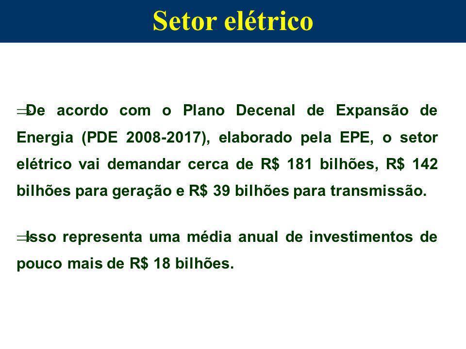 Setor elétrico De acordo com o Plano Decenal de Expansão de Energia (PDE 2008-2017), elaborado pela EPE, o setor elétrico vai demandar cerca de R$ 181 bilhões, R$ 142 bilhões para geração e R$ 39 bilhões para transmissão.