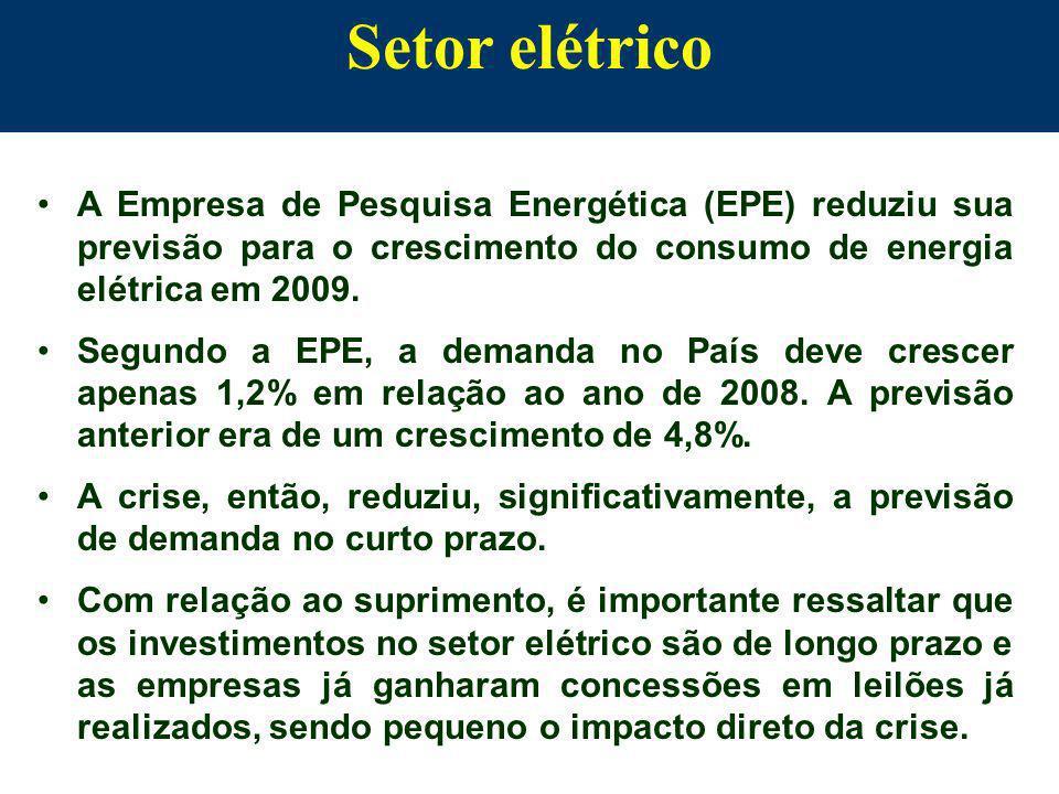 Setor elétrico A Empresa de Pesquisa Energética (EPE) reduziu sua previsão para o crescimento do consumo de energia elétrica em 2009. Segundo a EPE, a