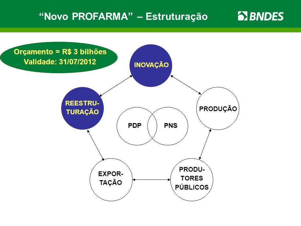 PDPPNS INOVAÇÃO REESTRU- TURAÇÃO PRODUÇÃO EXPOR- TAÇÃO PRODU- TORES PÚBLICOS Orçamento = R$ 3 bilhões Validade: 31/07/2012 Novo PROFARMA – Estruturaçã
