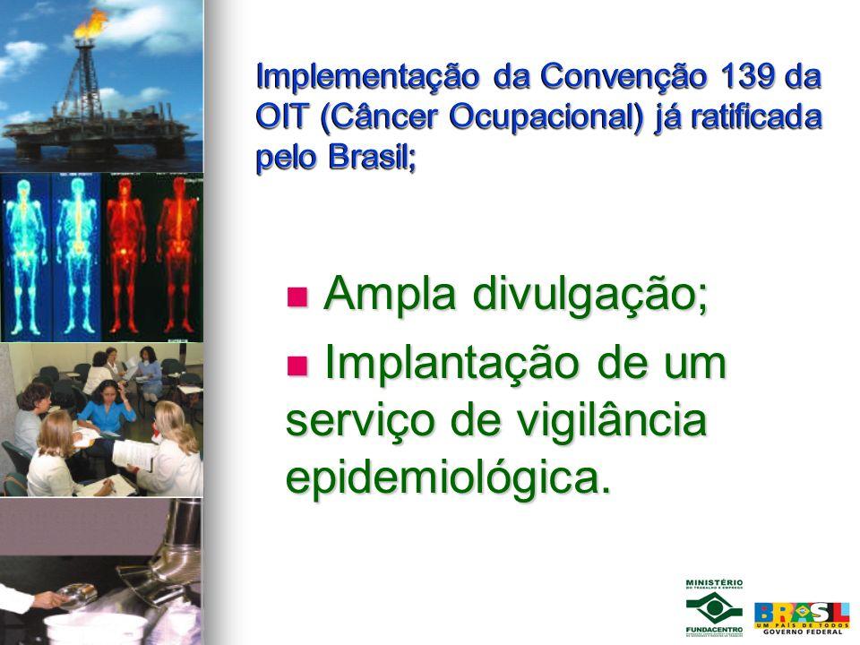 Implementação da Convenção 139 da OIT (Câncer Ocupacional) já ratificada pelo Brasil; Implementação da Convenção 139 da OIT (Câncer Ocupacional) já ra