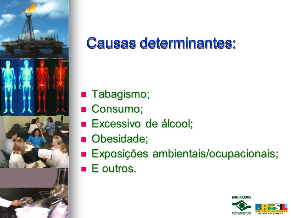 Causas determinantes: Causas determinantes: Tabagismo; Tabagismo; Consumo; Consumo; Excessivo de álcool; Excessivo de álcool; Obesidade; Obesidade; Ex