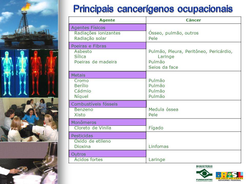 Principais cancerígenos ocupacionais AgenteCâncer Agentes Físicos Radiações ionizantes Radiação solar Ósseo, pulmão, outros Pele Poeiras e Fibras Asbe