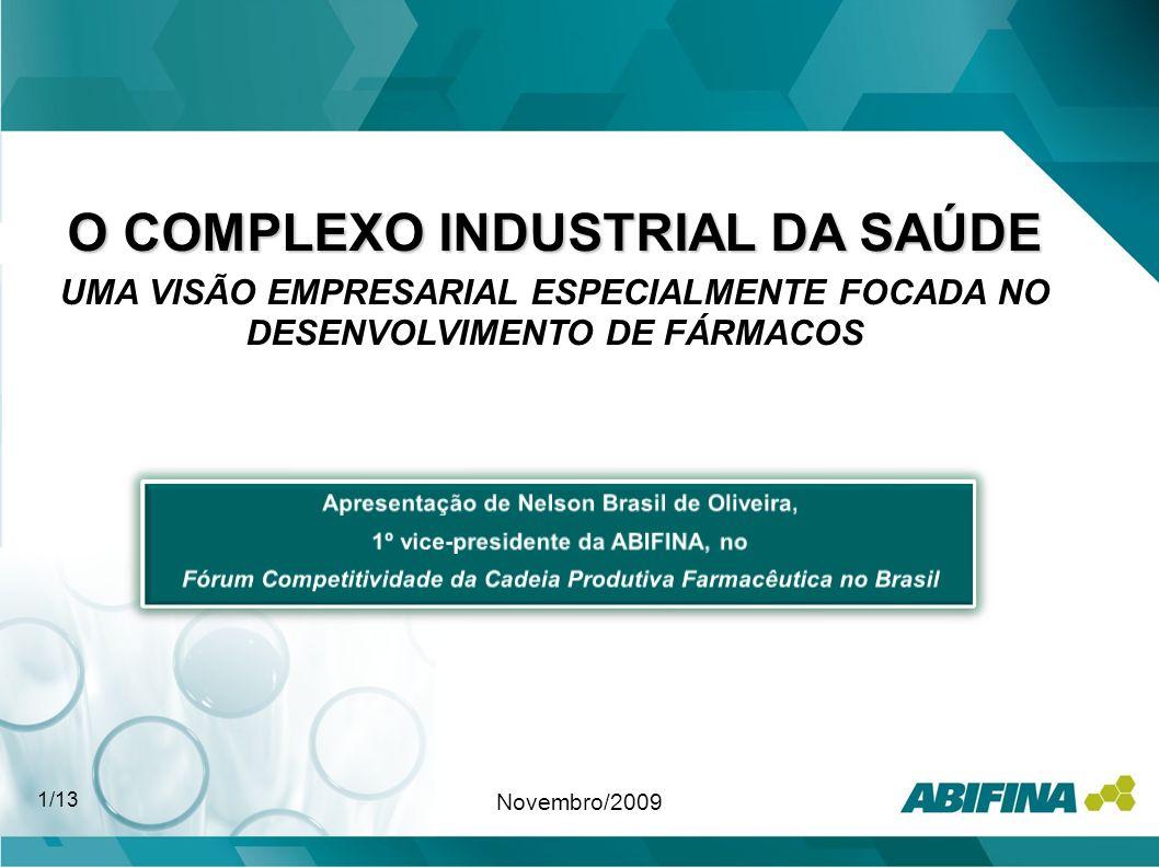 O COMPLEXO INDUSTRIAL DA SAÚDE UMA VISÃO EMPRESARIAL ESPECIALMENTE FOCADA NO DESENVOLVIMENTO DE FÁRMACOS Novembro/2009 1/13