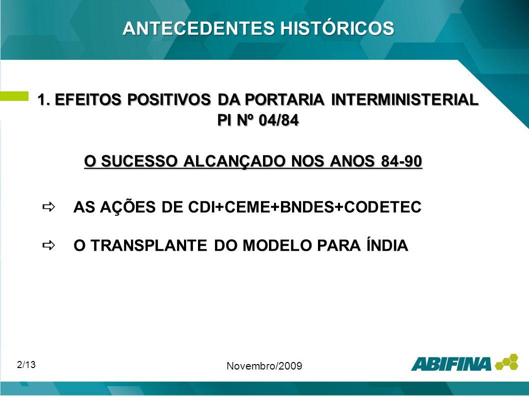 ANTECEDENTES HISTÓRICOS O SUCESSO ALCANÇADO NOS ANOS 84-90 AS AÇÕES DE CDI+CEME+BNDES+CODETEC O TRANSPLANTE DO MODELO PARA ÍNDIA 1. EFEITOS POSITIVOS