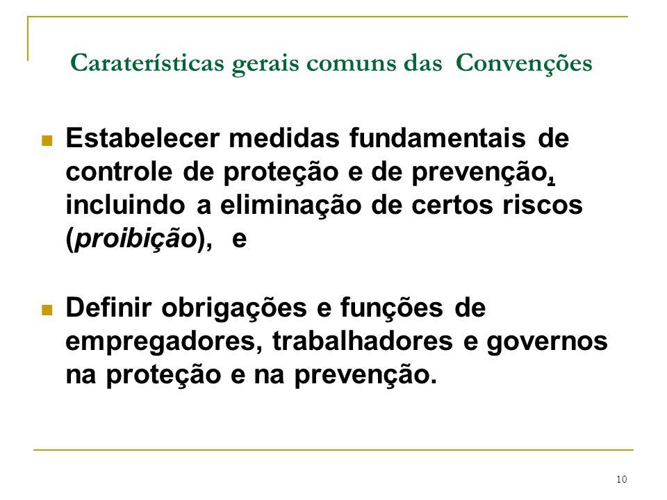 10 Caraterísticas gerais comuns das Convenções Estabelecer medidas fundamentais de controle de proteção e de prevenção, incluindo a eliminação de cert