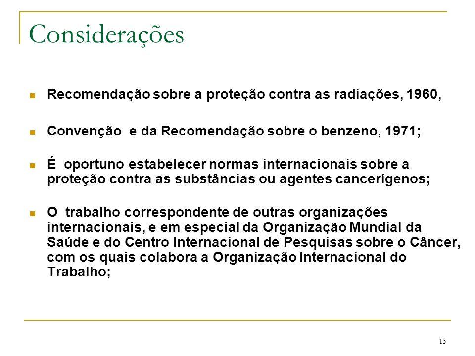 15 Considerações Recomendação sobre a proteção contra as radiações, 1960, Convenção e da Recomendação sobre o benzeno, 1971; É oportuno estabelecer no