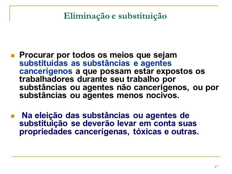17 Eliminação e substituição Procurar por todos os meios que sejam substituídas as substâncias e agentes cancerígenos a que possam estar expostos os t