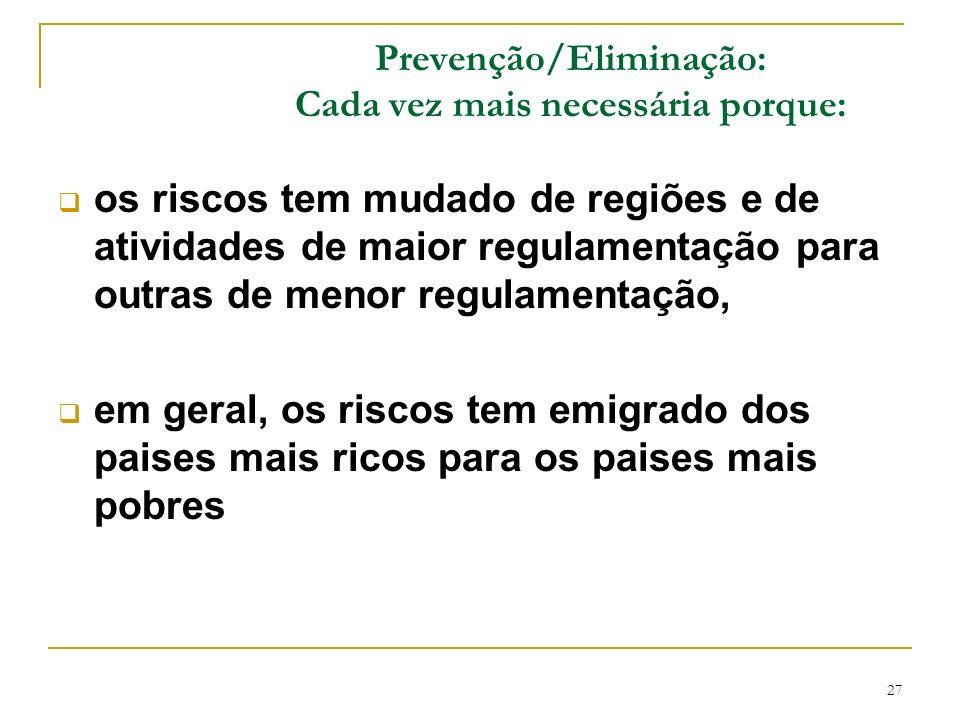 27 Prevenção/Eliminação: Cada vez mais necessária porque: os riscos tem mudado de regiões e de atividades de maior regulamentação para outras de menor