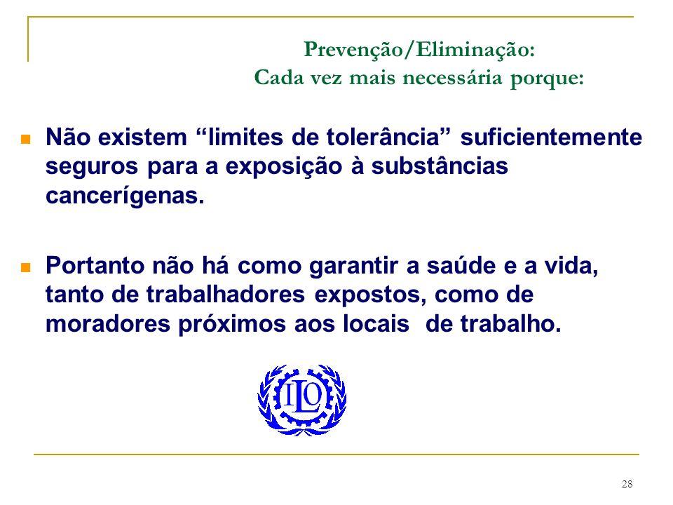 28 Não existem limites de tolerância suficientemente seguros para a exposição à substâncias cancerígenas. Portanto não há como garantir a saúde e a vi