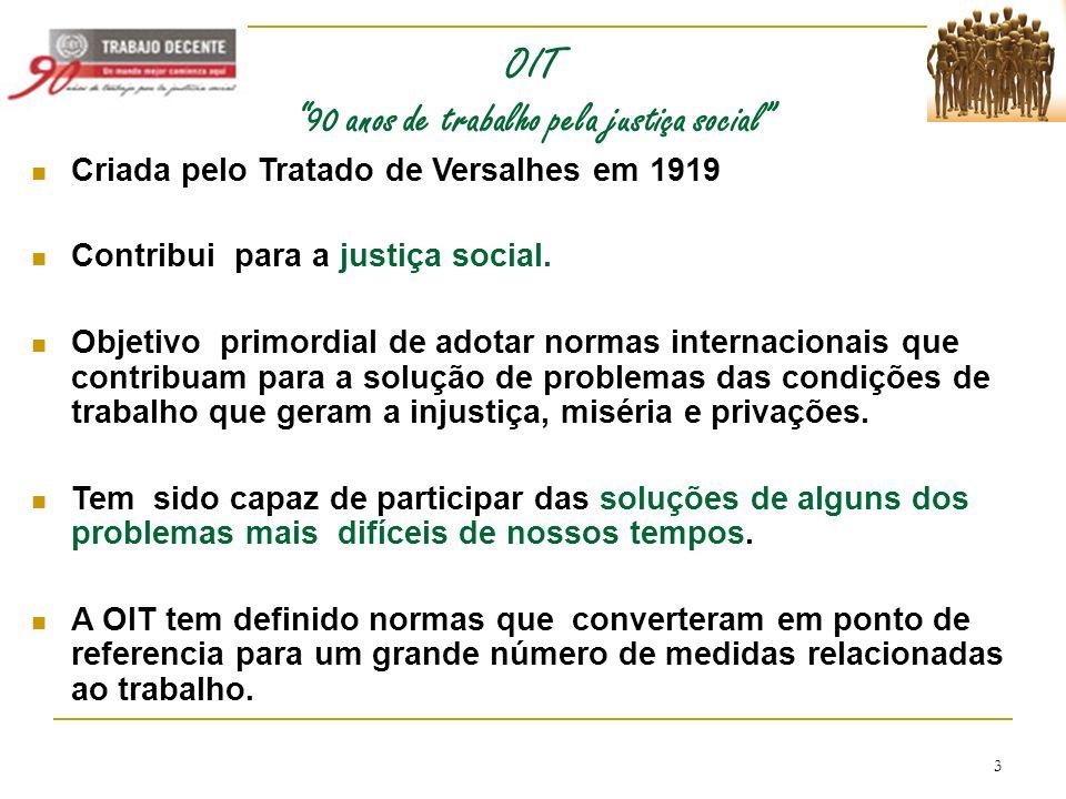 3 OIT 90 anos de trabalho pela justiça social Criada pelo Tratado de Versalhes em 1919 Contribui para a justiça social. Objetivo primordial de adotar