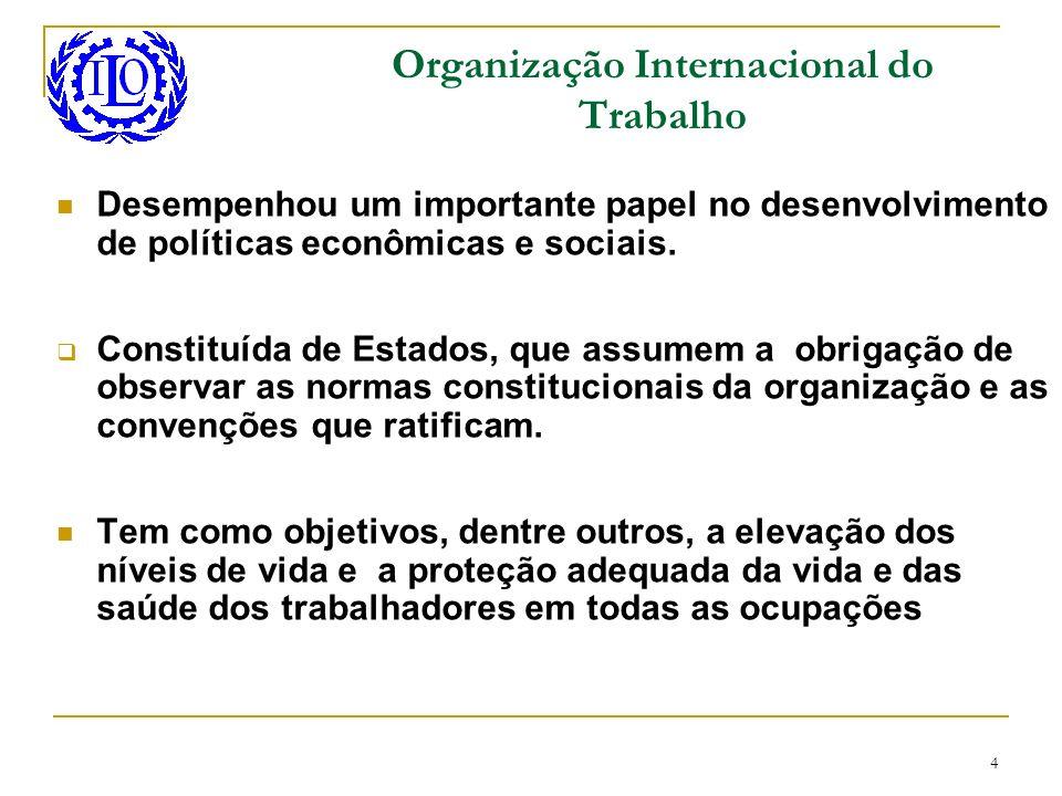 4 Organização Internacional do Trabalho Desempenhou um importante papel no desenvolvimento de políticas econômicas e sociais. Constituída de Estados,