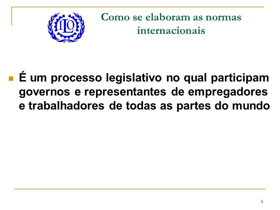 6 Como se elaboram as normas internacionais É um processo legislativo no qual participam governos e representantes de empregadores e trabalhadores de