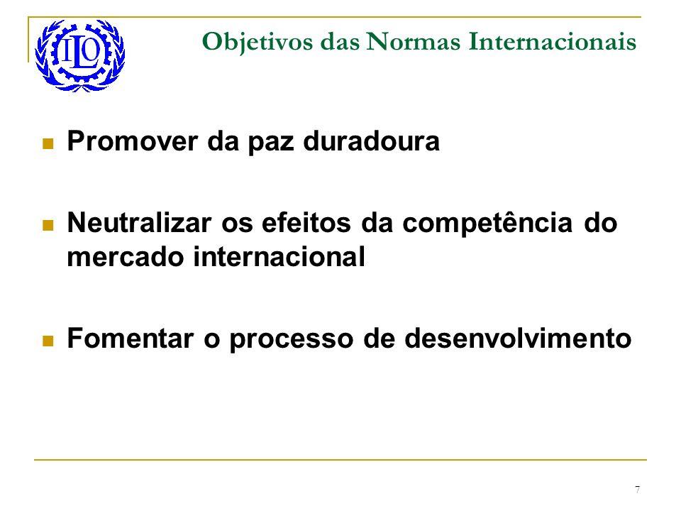 7 Objetivos das Normas Internacionais Promover da paz duradoura Neutralizar os efeitos da competência do mercado internacional Fomentar o processo de