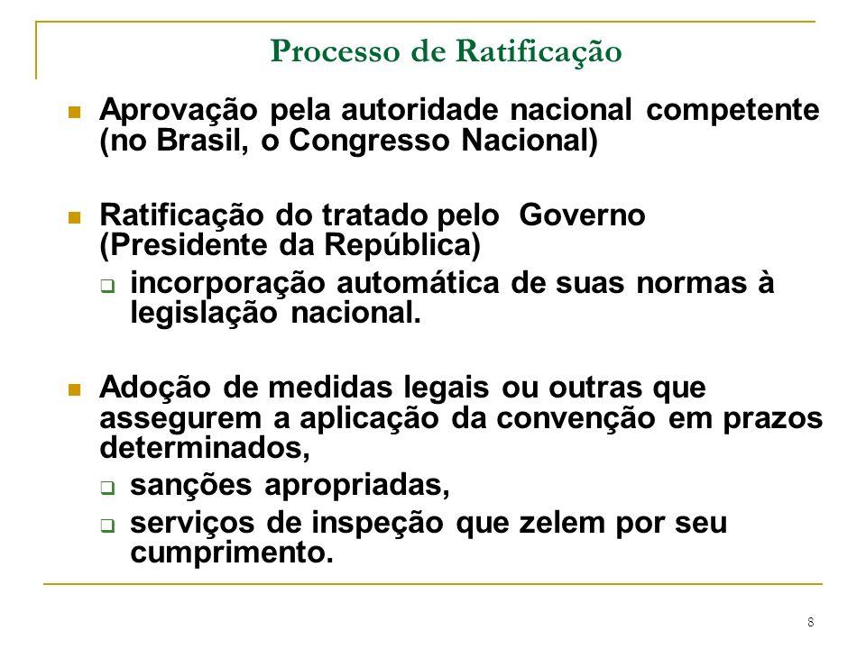 8 Processo de Ratificação Aprovação pela autoridade nacional competente (no Brasil, o Congresso Nacional) Ratificação do tratado pelo Governo (Preside