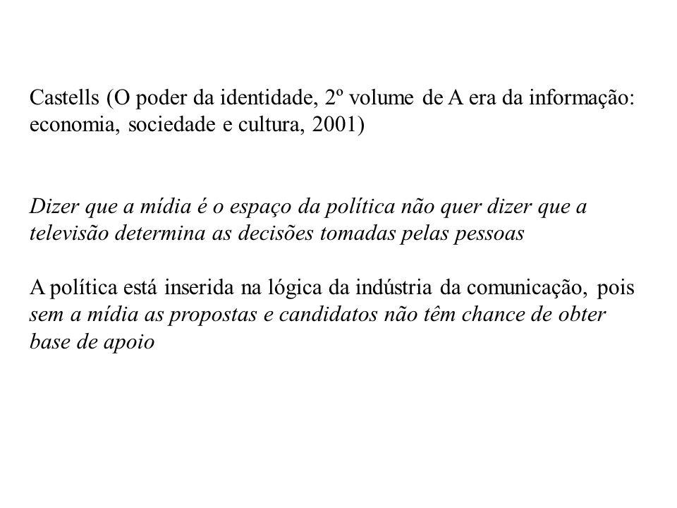 Castells (O poder da identidade, 2º volume de A era da informação: economia, sociedade e cultura, 2001) Dizer que a mídia é o espaço da política não q