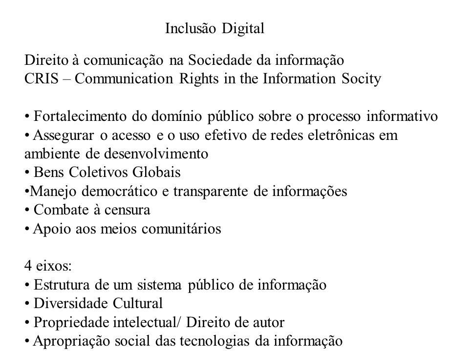 Inclusão Digital Direito à comunicação na Sociedade da informação CRIS – Communication Rights in the Information Socity Fortalecimento do domínio públ