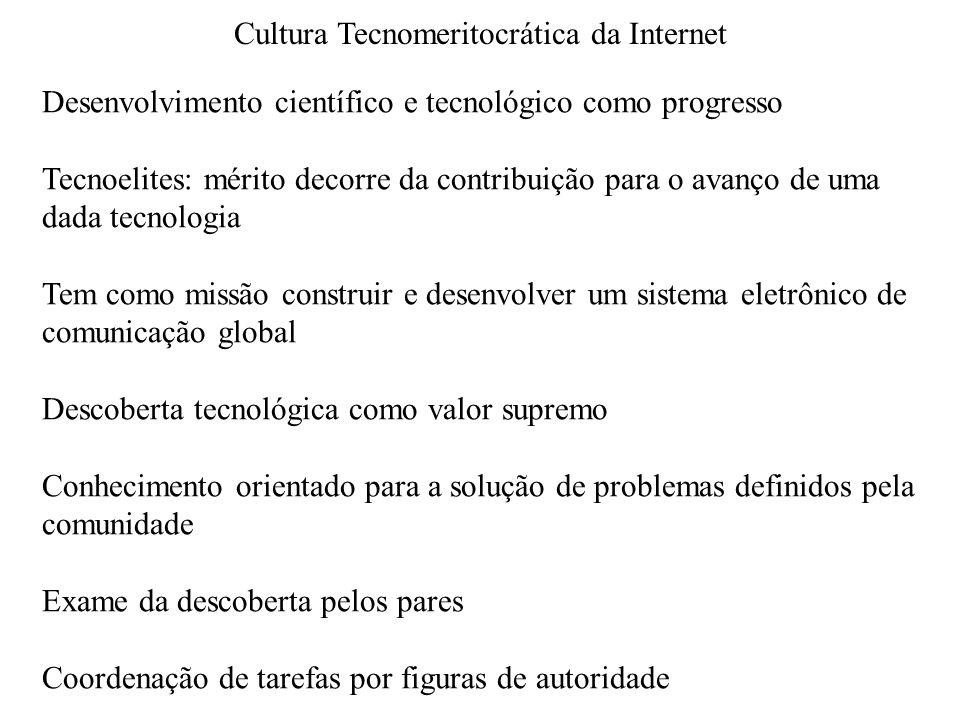 Difusão das práticas da Internet para outros domínios da sociedade Cultura hacker Ambiente fomentador de inovação tecnológica Cultura empresarial Cultura tecnomeritocrática Comunidades virtuais: Fontes de valores que moldaram comportamento e organização social