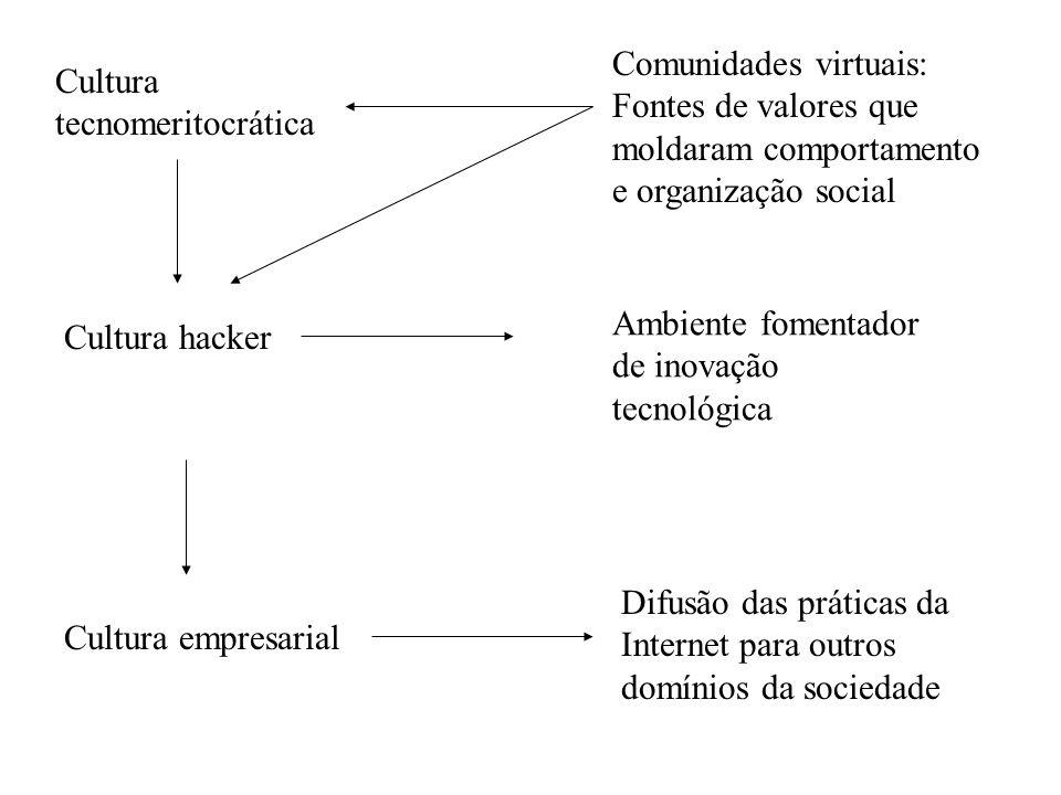 Difusão das práticas da Internet para outros domínios da sociedade Cultura hacker Ambiente fomentador de inovação tecnológica Cultura empresarial Cult