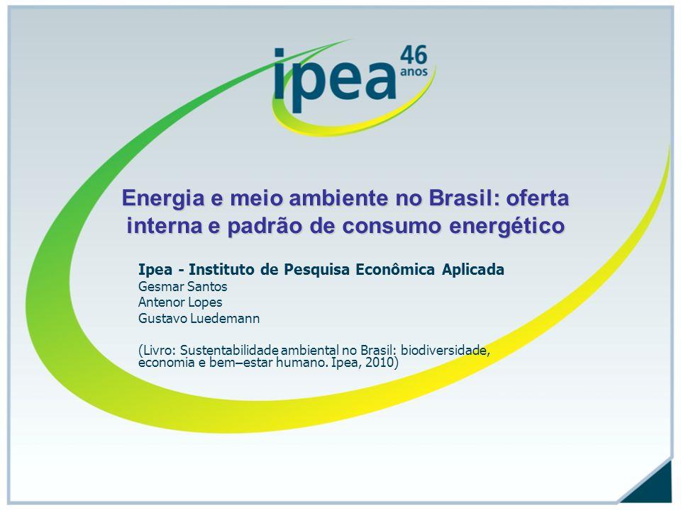 Conteúdo do trabalho Características gerais da Oferta Interna de Energia e relações com o meio ambiente (contexto BEN, PDE 2017 e PNE 2030, Estudos NAE) Perfil e evolução da intensidade energética por setor de consumo (Brasil e OCDE) Perfil dos maiores consumidores Brasil – transportes, indústrias Energia e sustentabilidade socioeconômica: o desafio dos biocombustíveis (Plano Nacional de Agroenergia) Ações do Governo: políticas de eficiência energética (Procel, PBE, PROINFA, PEE); interfaces investimento/licenciamento e sustentabilidade ambiental