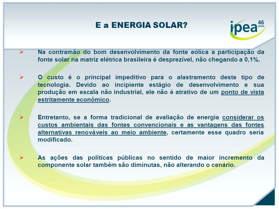 E a ENERGIA SOLAR? Na contramão do bom desenvolvimento da fonte eólica a participação da fonte solar na matriz elétrica brasileira é desprezível, não