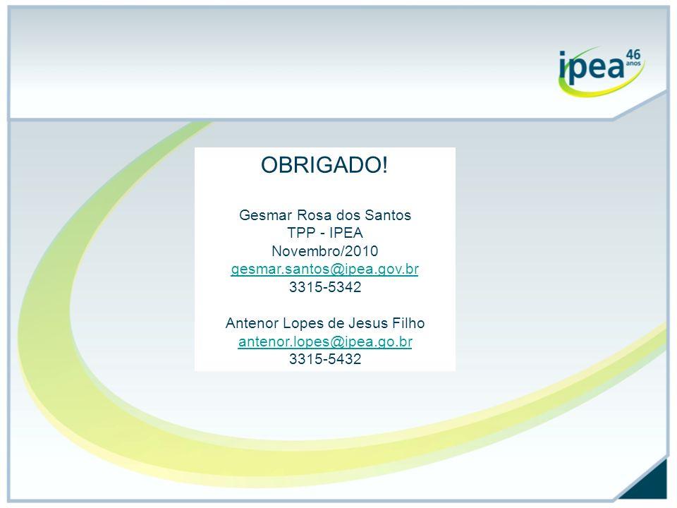 OBRIGADO! Gesmar Rosa dos Santos TPP - IPEA Novembro/2010 gesmar.santos@ipea.gov.br 3315-5342 Antenor Lopes de Jesus Filho antenor.lopes@ipea.go.br 33
