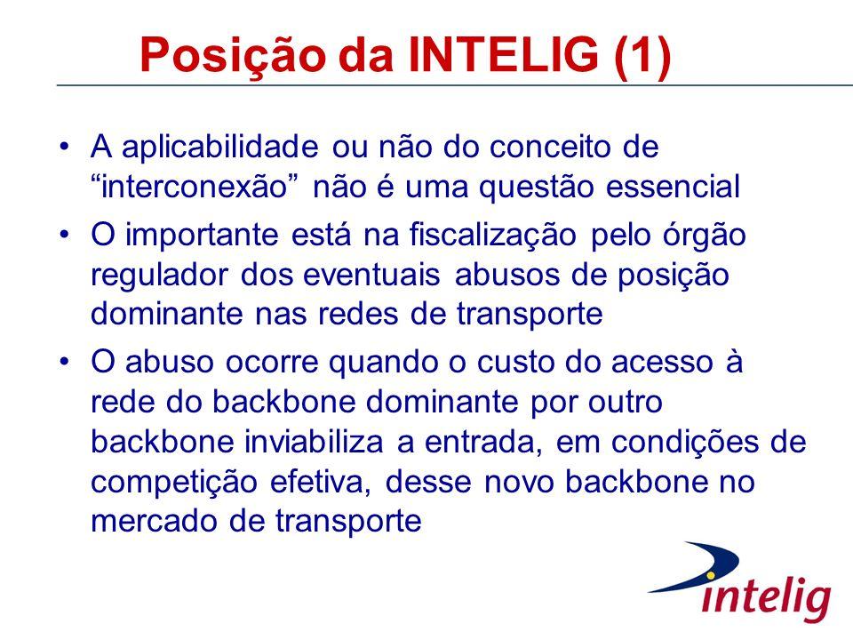Posição da INTELIG (1) A aplicabilidade ou não do conceito de interconexão não é uma questão essencial O importante está na fiscalização pelo órgão re