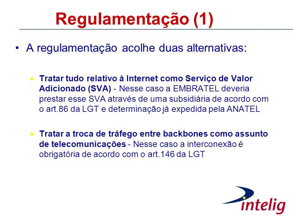 Regulamentação (1) A regulamentação acolhe duas alternativas: Tratar tudo relativo à Internet como Serviço de Valor Adicionado (SVA) - Nesse caso a EM