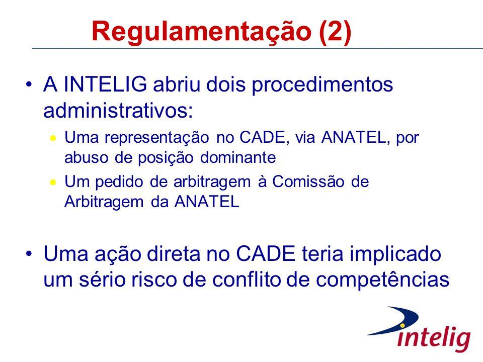 Regulamentação (2) A INTELIG abriu dois procedimentos administrativos: Uma representação no CADE, via ANATEL, por abuso de posição dominante Um pedido