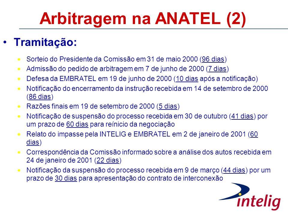 Arbitragem na ANATEL (2) Tramitação: Sorteio do Presidente da Comissão em 31 de maio 2000 (96 dias) Admissão do pedido de arbitragem em 7 de junho de