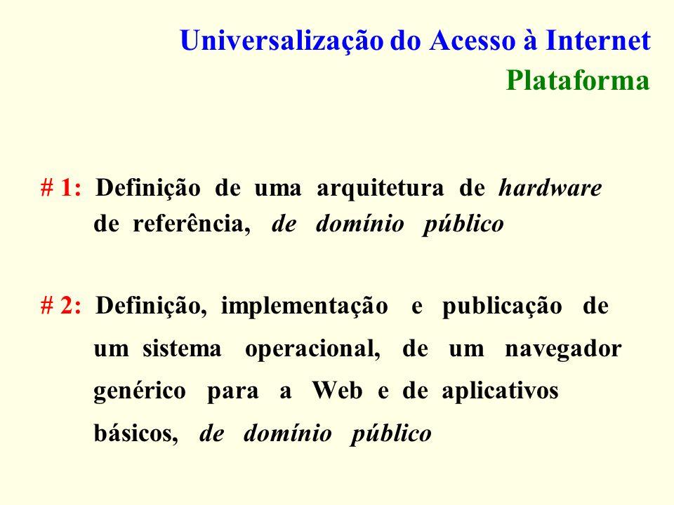 Universalização do Acesso à Internet Plataforma # 1: Definição de uma arquitetura de hardware de referência, de domínio público # 2: Definição, implem