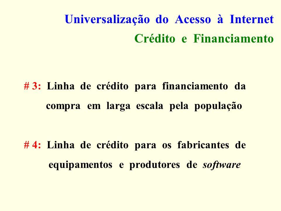 Universalização do Acesso à Internet Crédito e Financiamento # 3: Linha de crédito para financiamento da compra em larga escala pela população # 4: Li