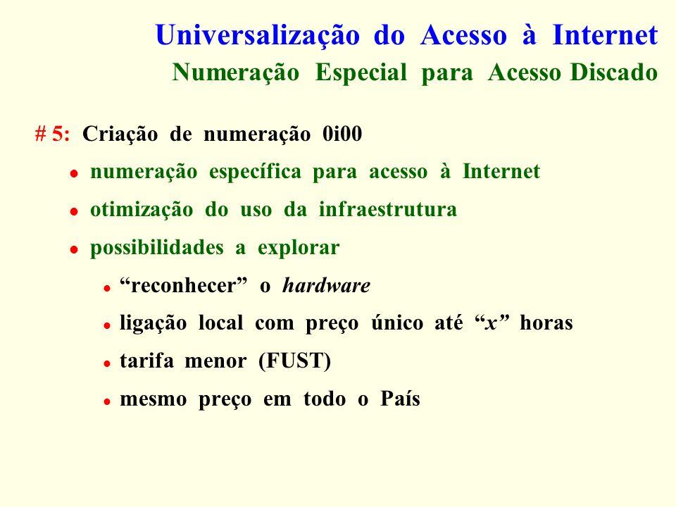 Universalização do Acesso à Internet Numeração Especial para Acesso Discado # 5: Criação de numeração 0i00 numeração específica para acesso à Internet