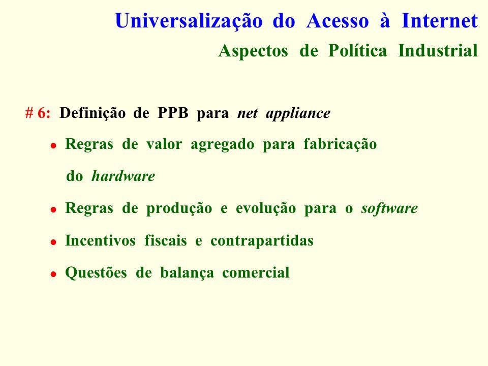 Universalização do Acesso à Internet Aspectos de Política Industrial # 6: Definição de PPB para net appliance Regras de valor agregado para fabricação
