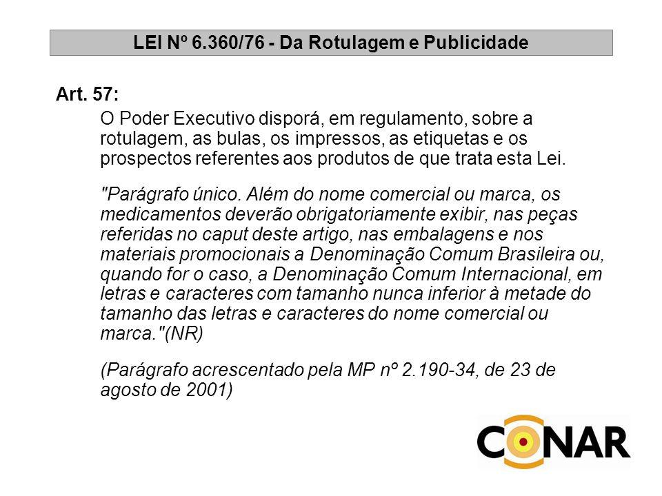 LEI Nº 6.360/76 - Da Rotulagem e Publicidade Art. 57: O Poder Executivo disporá, em regulamento, sobre a rotulagem, as bulas, os impressos, as etiquet