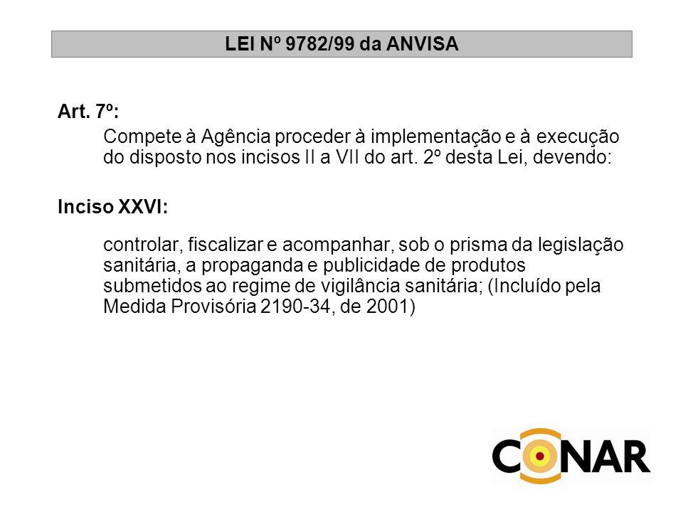 LEI Nº 9782/99 da ANVISA Art. 7º: Compete à Agência proceder à implementação e à execução do disposto nos incisos II a VII do art. 2º desta Lei, deven