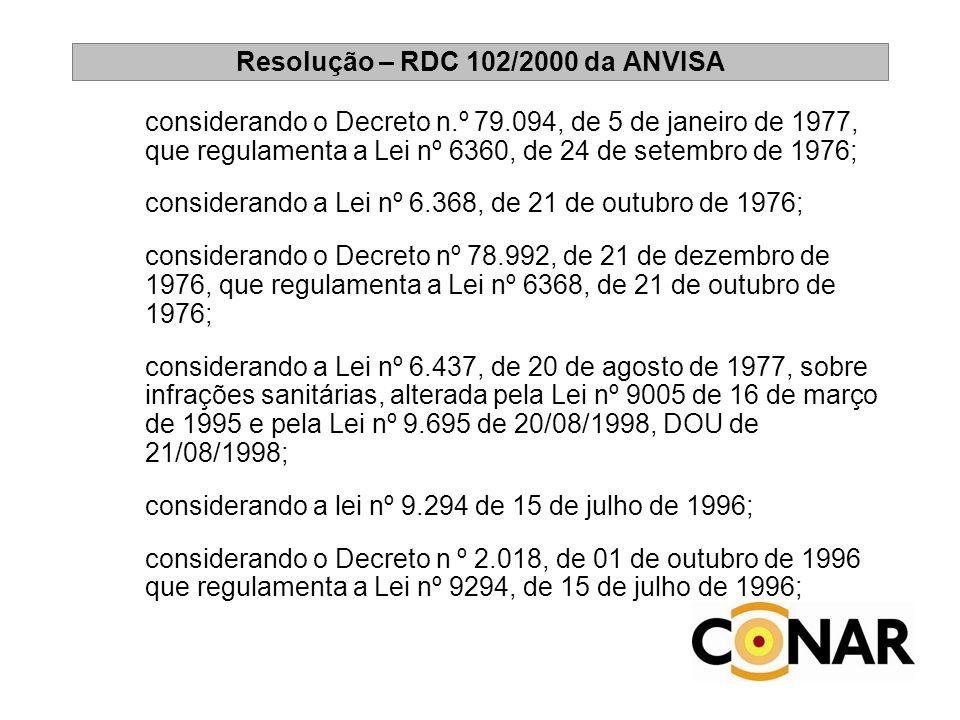 Resolução – RDC 102/2000 da ANVISA considerando o Decreto n.º 79.094, de 5 de janeiro de 1977, que regulamenta a Lei nº 6360, de 24 de setembro de 197