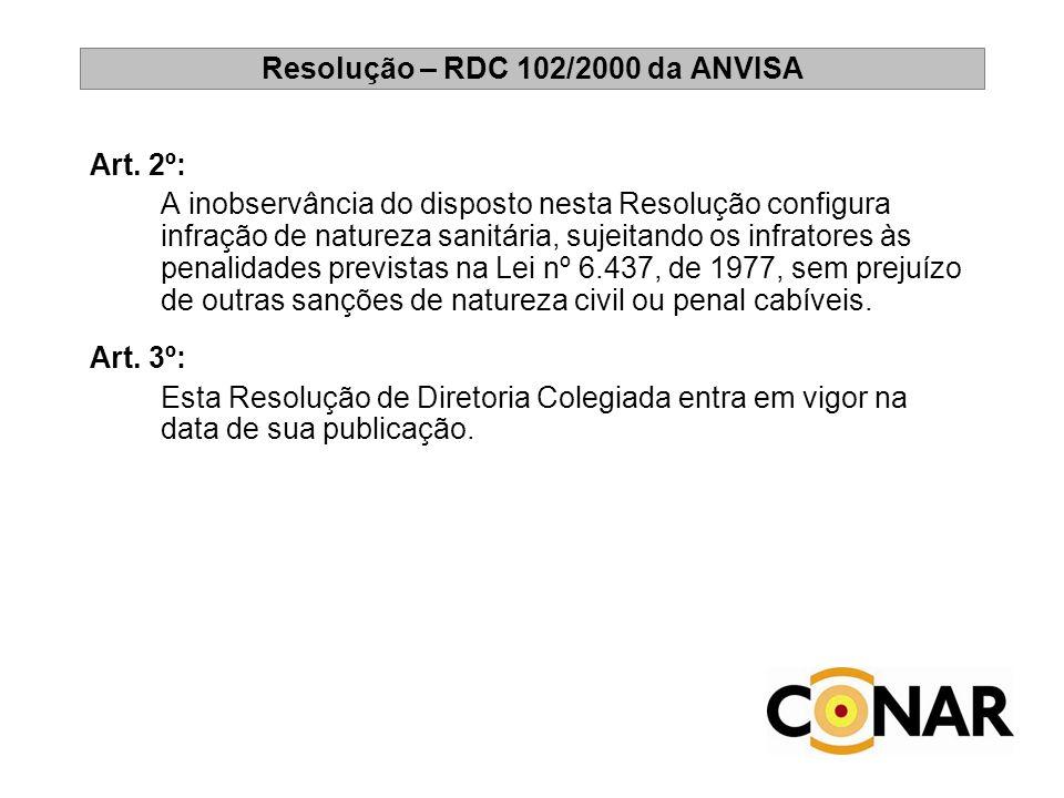 Resolução – RDC 102/2000 da ANVISA Art. 2º: A inobservância do disposto nesta Resolução configura infração de natureza sanitária, sujeitando os infrat