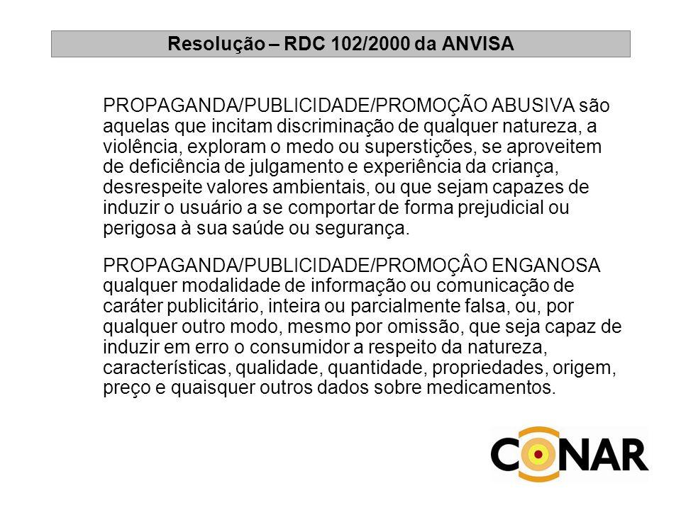 Resolução – RDC 102/2000 da ANVISA PROPAGANDA/PUBLICIDADE/PROMOÇÃO ABUSIVA são aquelas que incitam discriminação de qualquer natureza, a violência, ex