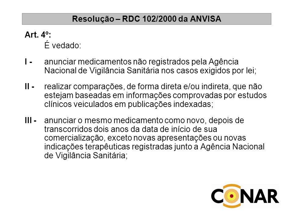 Resolução – RDC 102/2000 da ANVISA Art. 4º: É vedado: I - anunciar medicamentos não registrados pela Agência Nacional de Vigilância Sanitária nos caso