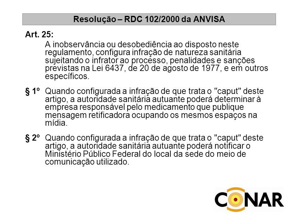 Resolução – RDC 102/2000 da ANVISA Art. 25: A inobservância ou desobediência ao disposto neste regulamento, configura infração de natureza sanitária s