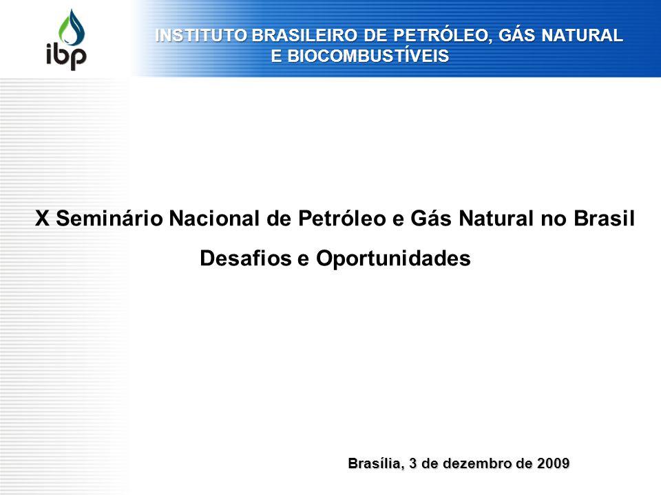Brasília, 3 de dezembro de 2009 X Seminário Nacional de Petróleo e Gás Natural no Brasil Desafios e Oportunidades INSTITUTO BRASILEIRO DE PETRÓLEO, GÁ