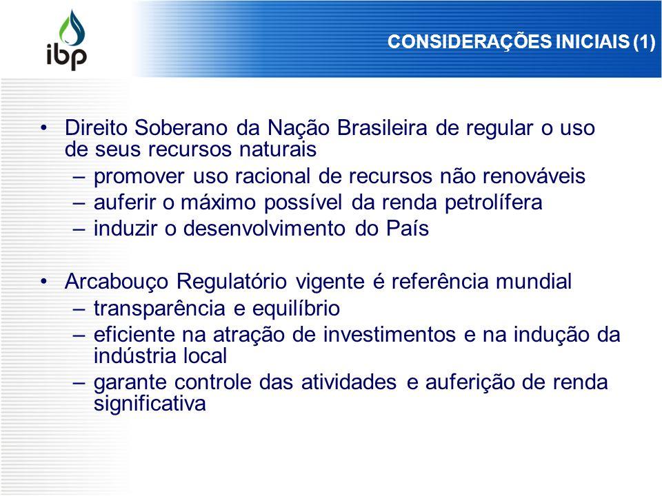 CONSIDERAÇÕES INICIAIS (1) Direito Soberano da Nação Brasileira de regular o uso de seus recursos naturais –promover uso racional de recursos não reno