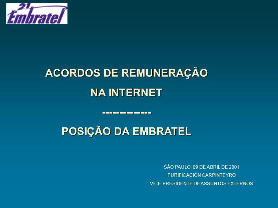 ACORDOS DE REMUNERAÇÃO NA INTERNET -------------- POSIÇÃO DA EMBRATEL SÃO PAULO, 09 DE ABRIL DE 2001 PURIFICACIÓN CARPINTEYRO VICE-PRESIDENTE DE ASSUN