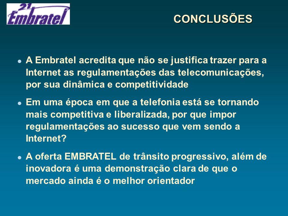CONCLUSÕES A Embratel acredita que não se justifica trazer para a Internet as regulamentações das telecomunicações, por sua dinâmica e competitividade