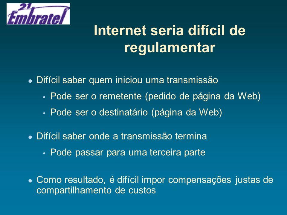 CONCLUSÕES A Embratel acredita que não se justifica trazer para a Internet as regulamentações das telecomunicações, por sua dinâmica e competitividade Em uma época em que a telefonia está se tornando mais competitiva e liberalizada, por que impor regulamentações ao sucesso que vem sendo a Internet.