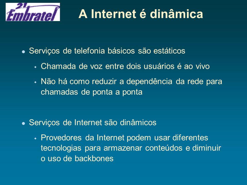 A Internet é dinâmica Serviços de telefonia básicos são estáticos w Chamada de voz entre dois usuários é ao vivo w Não há como reduzir a dependência d