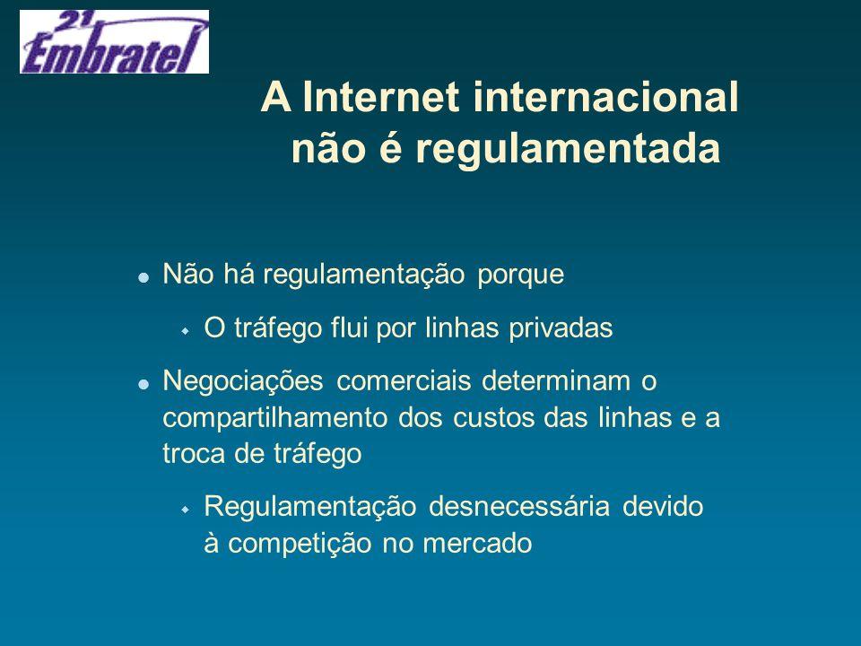 A Internet internacional não é regulamentada Não há regulamentação porque w O tráfego flui por linhas privadas Negociações comerciais determinam o com