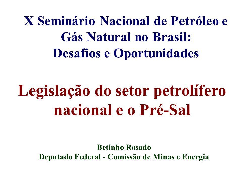 Legislação do setor petrolífero nacional e o Pré-Sal Betinho Rosado Deputado Federal - Comissão de Minas e Energia X Seminário Nacional de Petróleo e